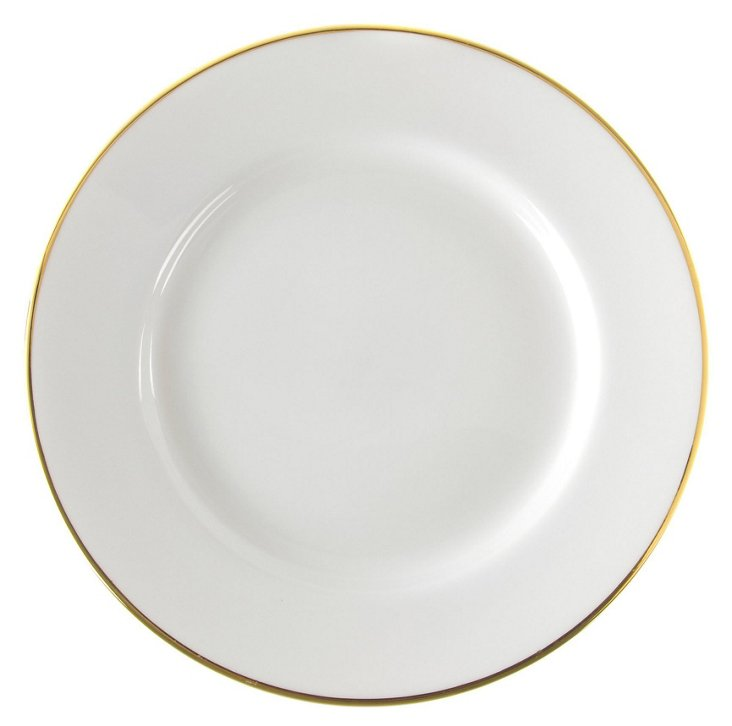 S/6 Porcelain Dinner Plates, Gold