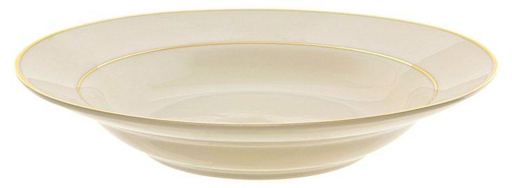 S/6 Double Line Soup Bowls, Cream