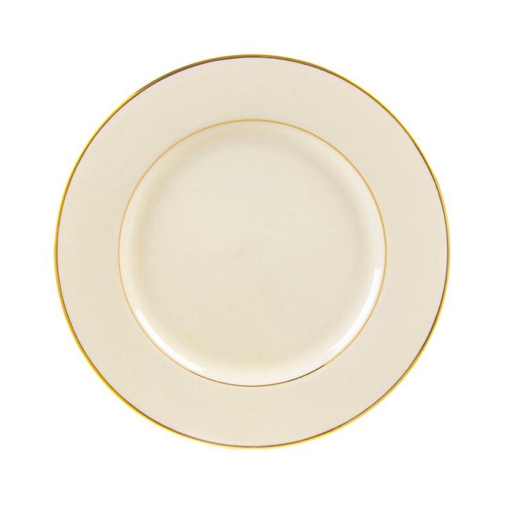 S/6 Double Line Salad Plates, Cream