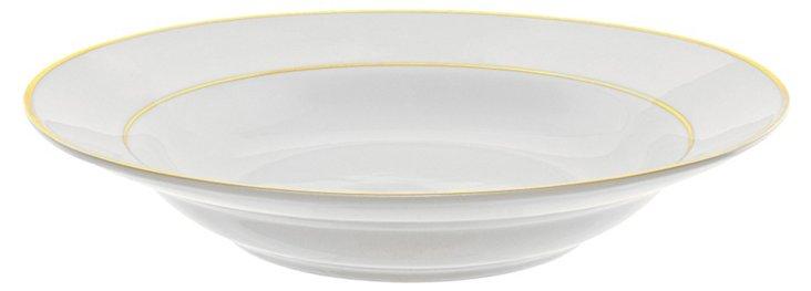 S/6 Double Line Soup Bowls, White