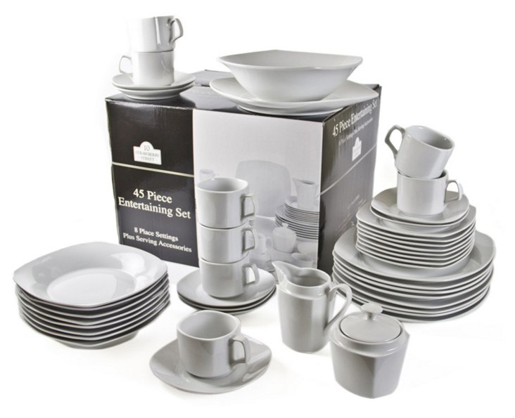 45-Pc Porcelain Square Dinnerware Set