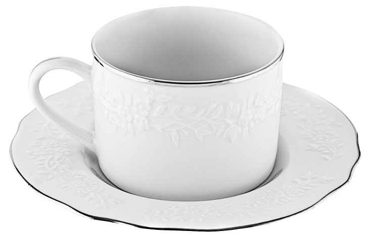 S/6 Silver Edge Vine Teacups & Saucers