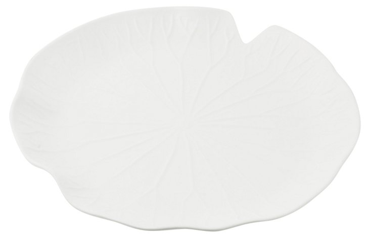 Maya Round Leaf Platter, White
