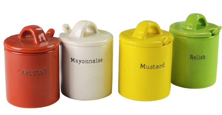 S/4 Condiment Jars w/ Lids
