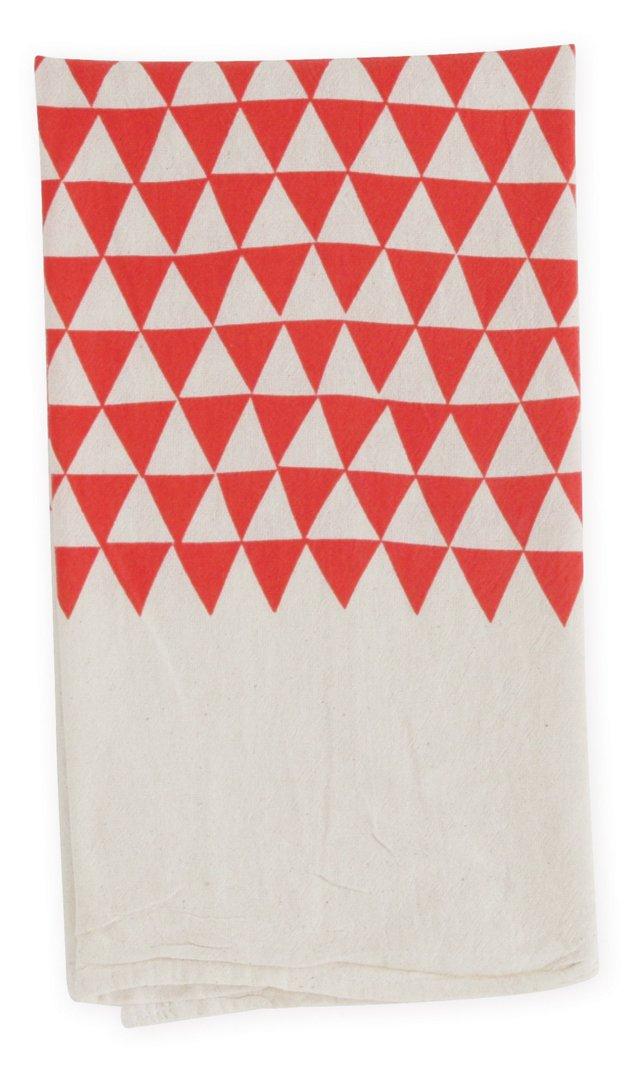 S/2 Triangles Flour Sack Towels, Poppy