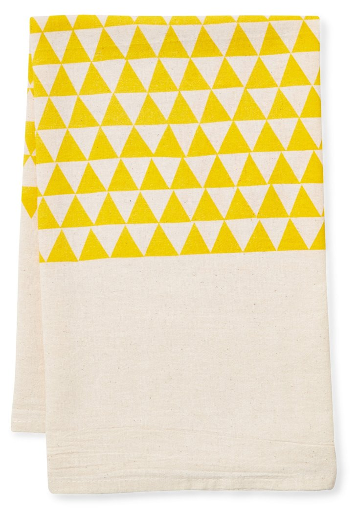 S/2 Triangle Flour Sack Towels, Yellow