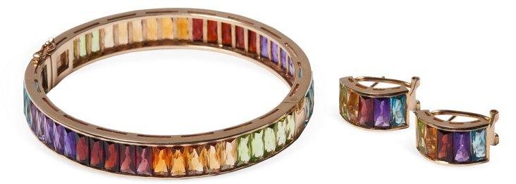 Multi Bangle Bracelet & Earrings