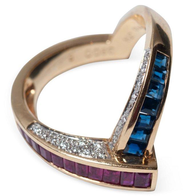 Ruby & Sapphire 'V' ring