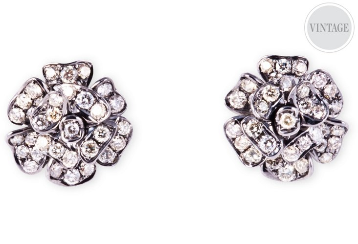 Blackened Gold & Diamond Earrings
