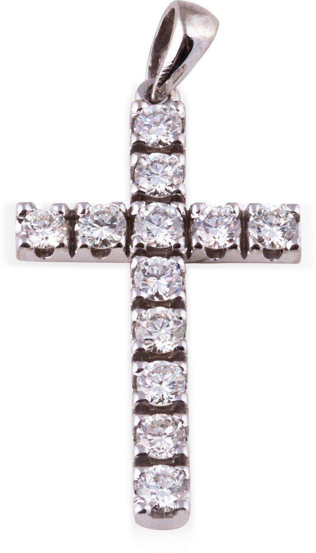 White Gold & Diamond Cross Pendant