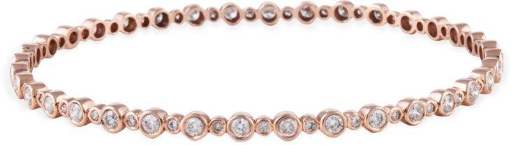 Rose Gold & Bezel-Set Diamond Bangle