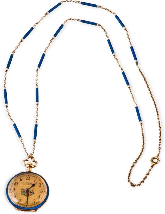 Victorian Enamel Watch Necklace