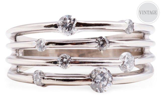 White Gold & Diamond Orbit Ring