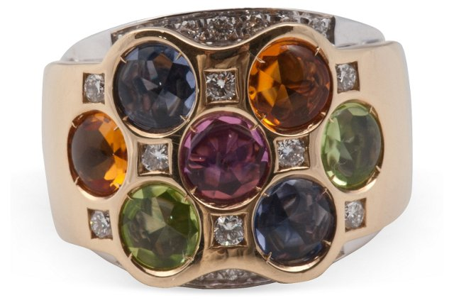 Colored Stone & Gold Cocktail Ring