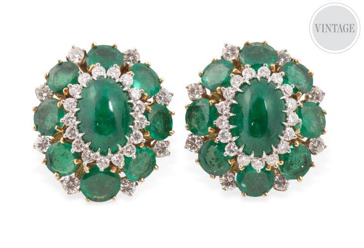 Emerald & Diamond Clips