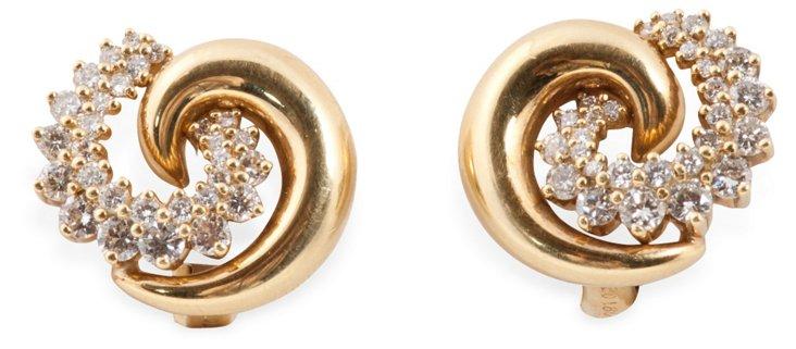 Gold & Diamond Swirl Earrings