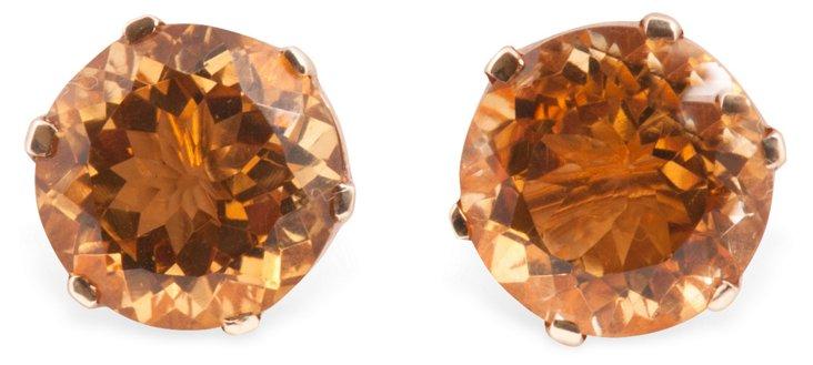Gold & Citrine Stud Earrings