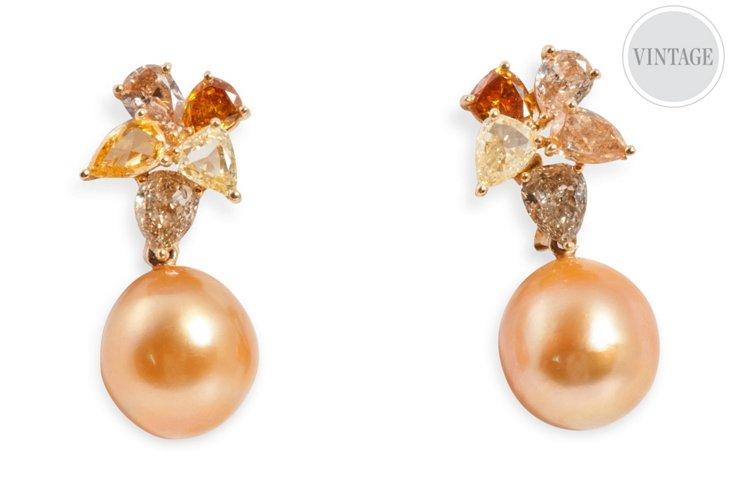 Colored Diamond & Pearl Earrings