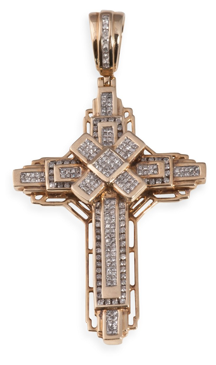Yellow Gold & Diamond Cross
