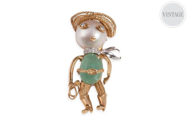 Emerald & Gold Cowboy Pin