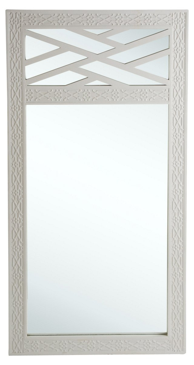Gray Chippendale-Style Wall Mirror