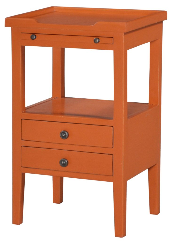 Eton 2-Drawer Side Table, Orange