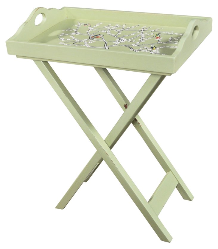 Large Tray with Stand, Weathered Sage