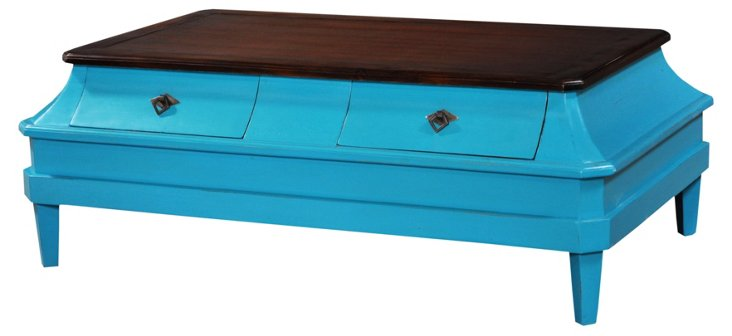 Bow Coffee Table, Weathered Turquoise