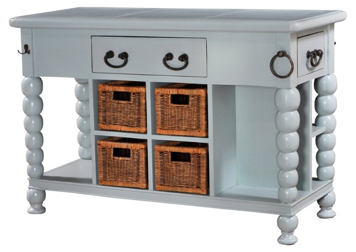 Jamer Kitchen Island, Gray-Blue