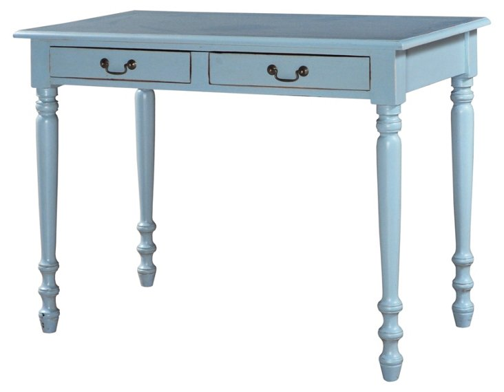 Cassie 2-Drawer Sofa Table, Sky Blue