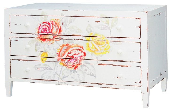 Annabelle Floral Sideboard, White