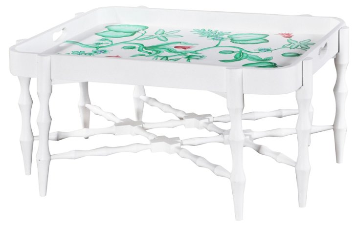 Horn Tray Table, White/Green