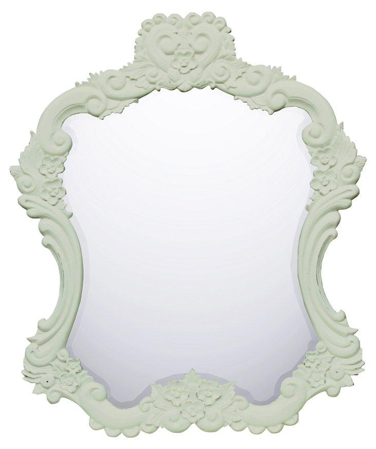 Lulu Carved Mirror, Eggshell