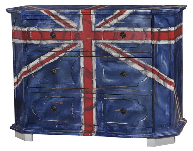 Heather 3-Drawer Chest, Blue/White/Red