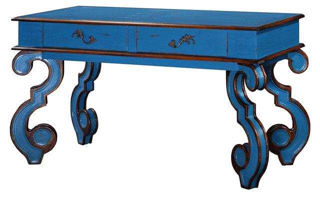 Asher Desk, Blue/Gold
