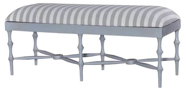 """Horn 51"""" Bench, Gray/White Linen"""
