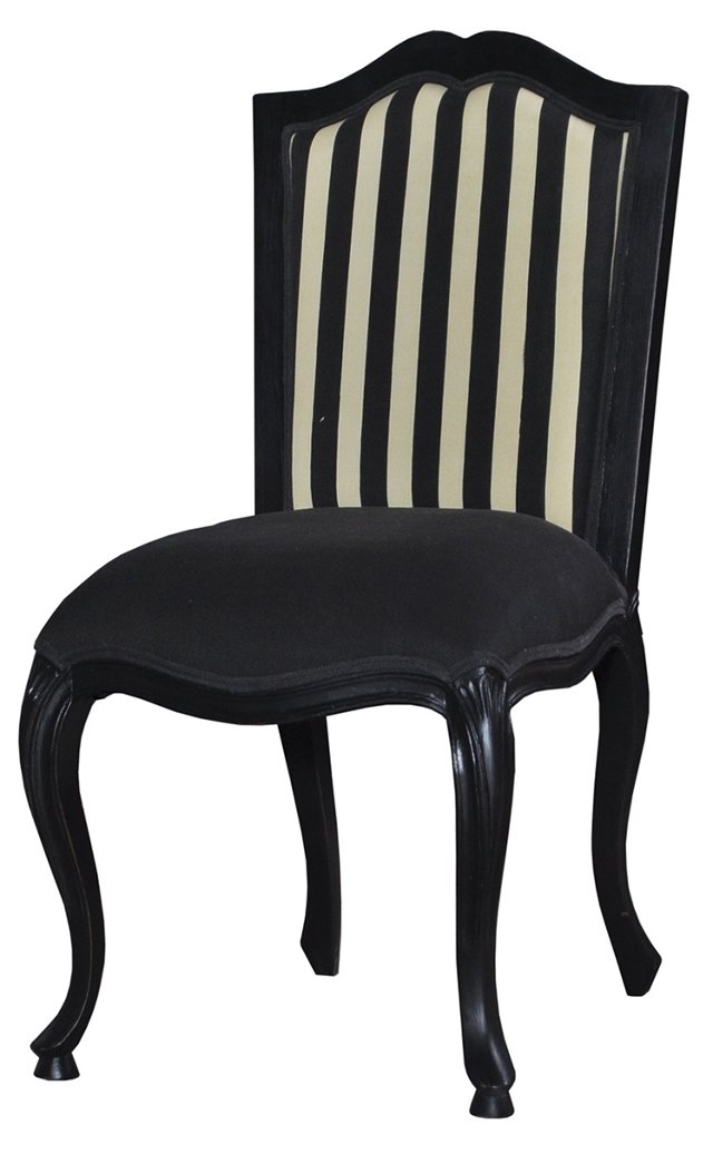 Camille Dining Chair, Black/Ivory