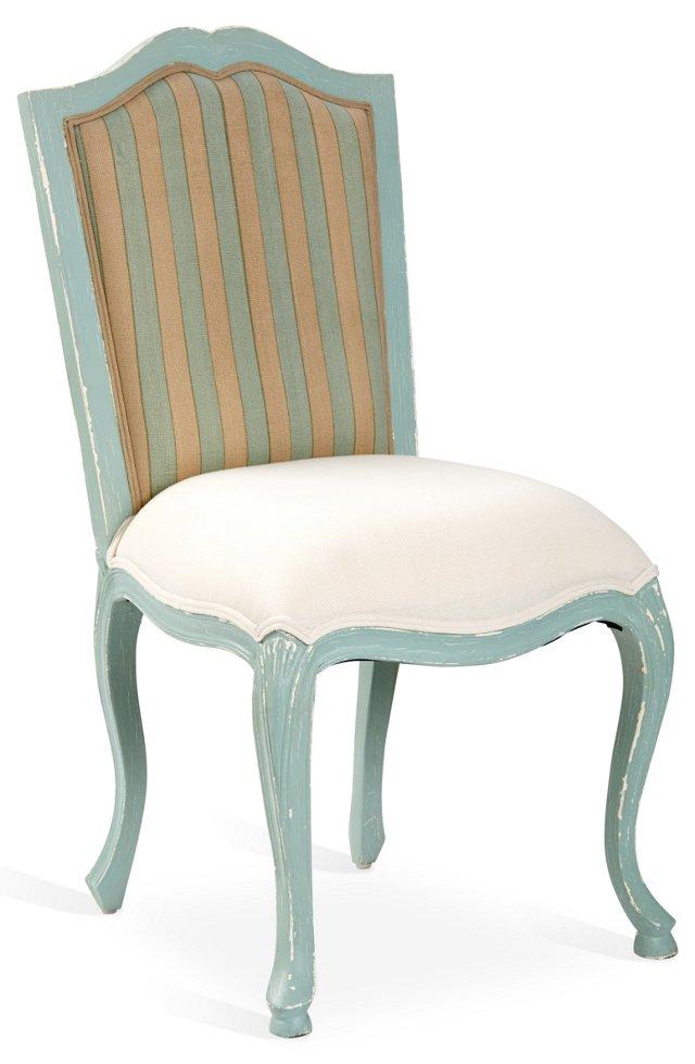 Delancy Dining Chair, Blue/Cream
