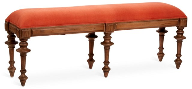 "Jenna 69"" Bench, Orange Linen"