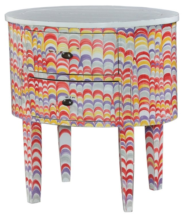 Lily Nightstand, Red/Purple/Multi