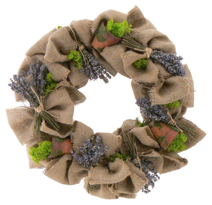 """18"""" Lavender Potting Shed Wreath"""