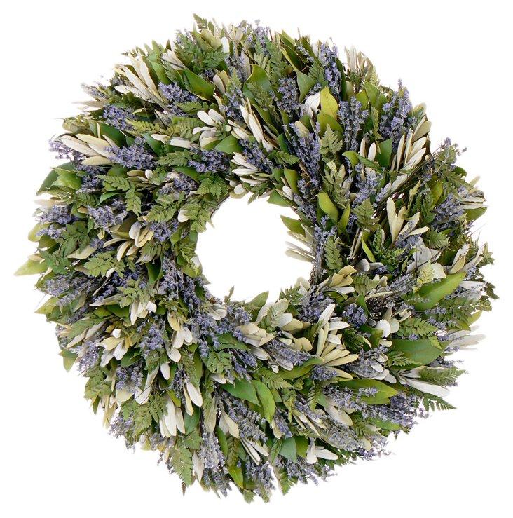 """30"""" Lavender Garden Wreath, Dried"""
