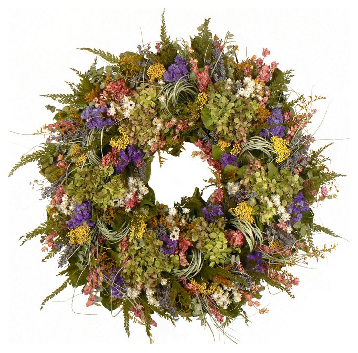 "22"" Lavender & Caspia Wreath, Dried"