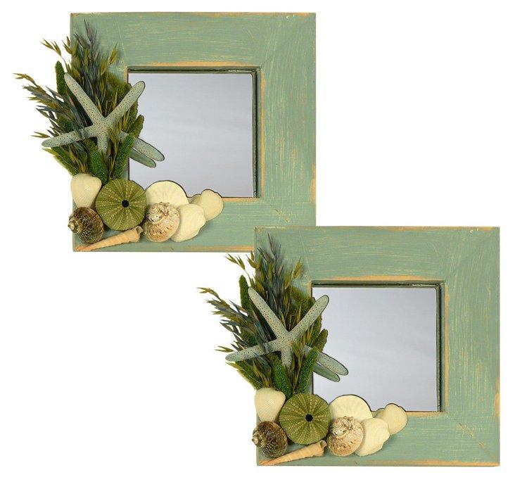S/2 Ocean Seashell Mirrors, Green