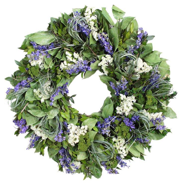 "22"" Myrtle & Lavender Wreath, Dried"