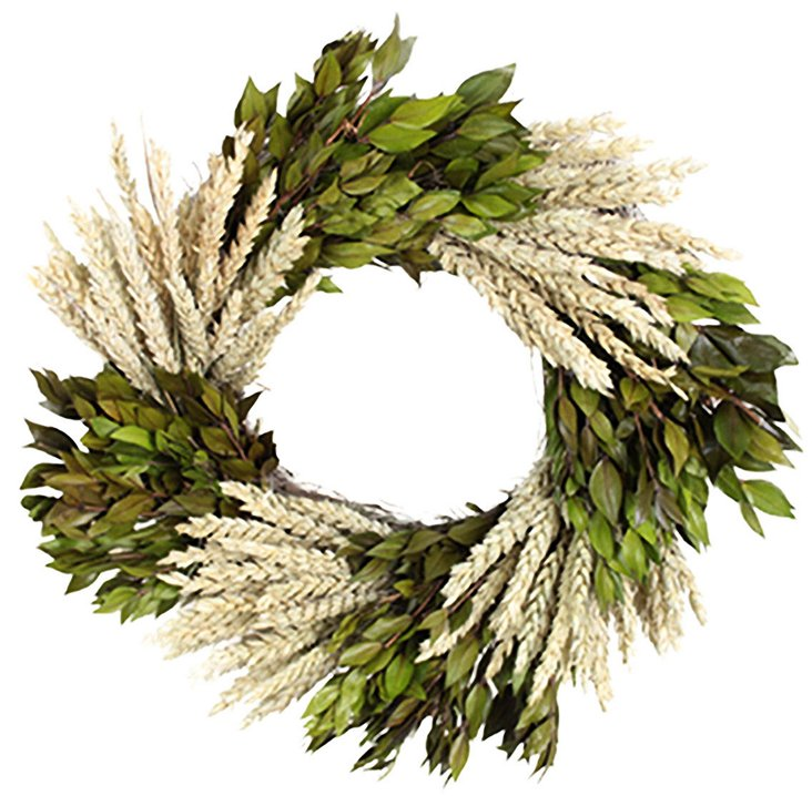 "16"" Wheat & Myrtle Wreath, Dried"