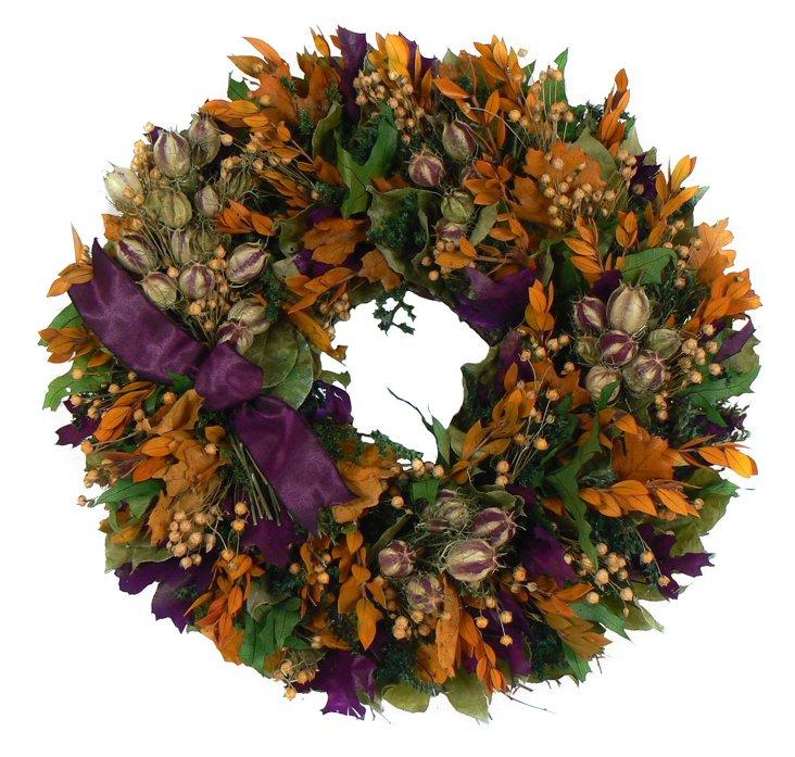 """16"""" Fall Falir Wreath, Dried"""