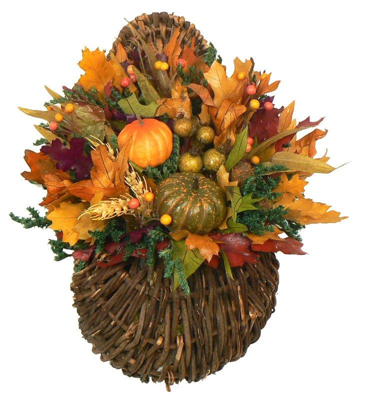 """14"""" Pumpkin & Gourd in Basket, Dried"""