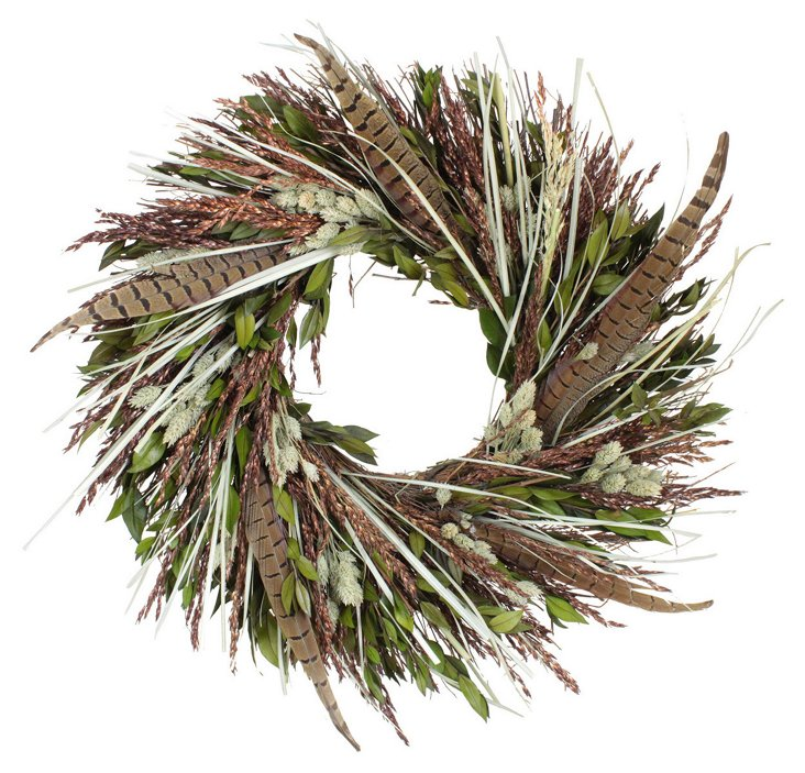 "18"" Myrtle & Sudan Wreath, Dried"