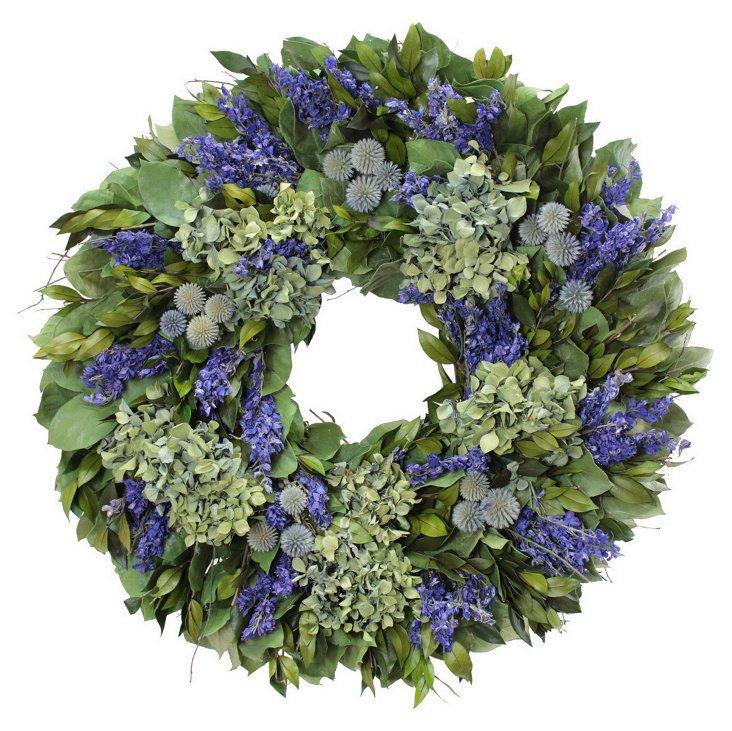 """22"""" Hydrangea & Twig Wreath, Dried"""
